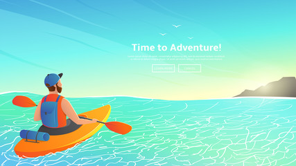 Man paddling kayak in sea. Character kayaking in ocean to island on a sunny day.  Vector illustration. Web banner of summer sport.