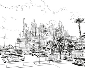 Las Vegas city hand drawn.USA. Nevada. Street sketch, vector illustration