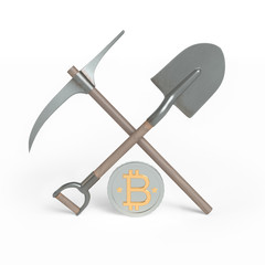 Shovel, pick axe and a coin. 3d render