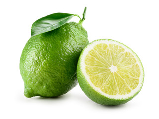 Lime. Fresh fruit with leaf isolated on white background. Whole and a half.