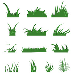 Vector Set of Green Grass Elements