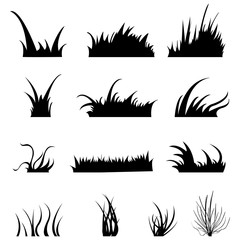 Vector Set of Grass Silhouettes