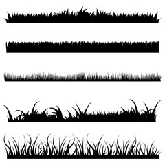 Vector Set of Black Grass Silhouettes