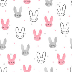 Cute bunny pattern. Seamless vector background with rabbits for kids design.