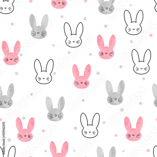 Cute Bunny Pattern Seamless Vector Background With Rabbits For Kids Stunning Bunny Pattern