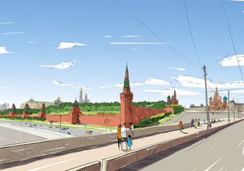 Russia. Moscow. Kremlin. Hand drawn vector illustration.