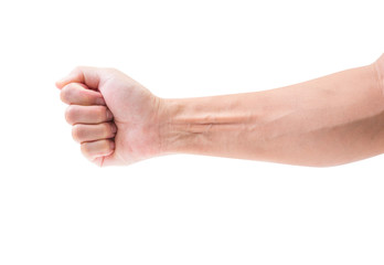 Male fist isolated on white background. clipping path