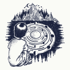 Dreamer tattoo art. Ingenious boy studies solar system. Symbol of the Universe, galaxy, science, education. Pensive child looks at Universe t-shirt design
