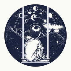 Boy on a swing in mountains, dreamer tattoo art. Boy looks at stars. Symbol of poetry, psychology, philosophy, astronomy, science.  Lunar phases and Universe