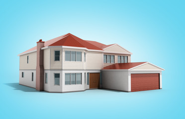 House Three-dimensional image 3d render on blue