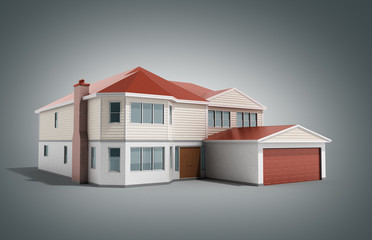 House Three-dimensional image 3d render on grey