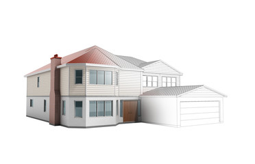 House Three-dimensional image building concept 3d render on white no shadow