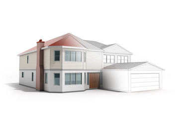House Three-dimensional image building concept 3d render on white