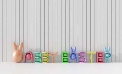 Happy easter background with colorful eggs on white wood wall. Happy Easter greetings. 3D render.