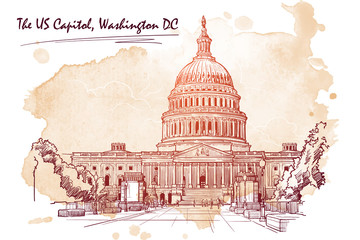Front view of the US Capitol Building. Cityscape, urban hand drawing. Sketch on grunge sepia spot background. EPS10 vector illustration.