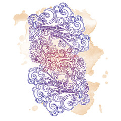 Element Air. Decorative vignette with curly clouds and rose flower garland. Pastel colored drawing isolated on grunge sepia spot. Concept design for the tattoo, colouring book postcard. EPS10 vector.