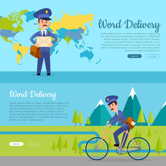 World Delivery. Set of Two Pictures with Postmen