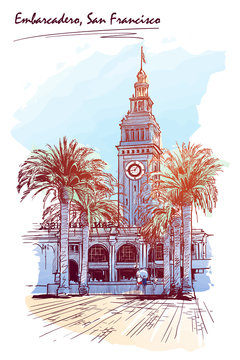 Panorama of the Embarcadero Ferry building in San Francisco and palm tree alley. Cityscape, urban hand drawing. Painted Sketch. Watercolor feel. Editable EPS10 vector illustration.