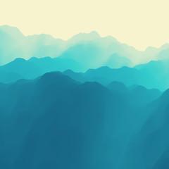 Mountain Landscape. Mountainous Terrain. Vector Illustration.