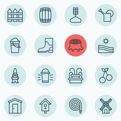 Set Of 16 Farm Icons. Includes Dwarf, Barrier, Fire Tube And Other Symbols. Beautiful Design Elements.
