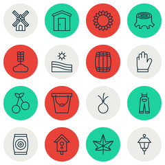 Set Of 16 Farm Icons. Includes Tree Stub, Cereal, Cask And Other Symbols. Beautiful Design Elements.