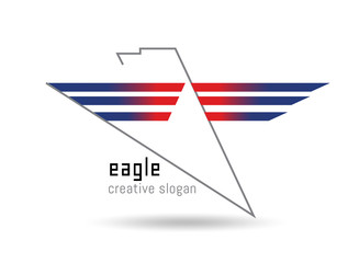 Eagle logo. Stylized lines forming the outline of an eagle. three red-blue geometric shapes wings of an eagle.
