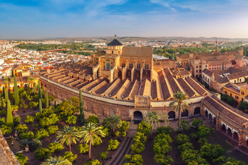 Panoramic aerial view of Great Mosque Mezquita - Catedral de Cordoba, Andalusia, Spain
