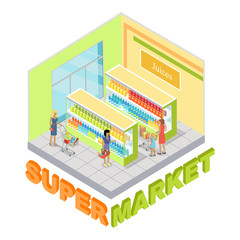 Supermarket Juices Department Isometric Vector