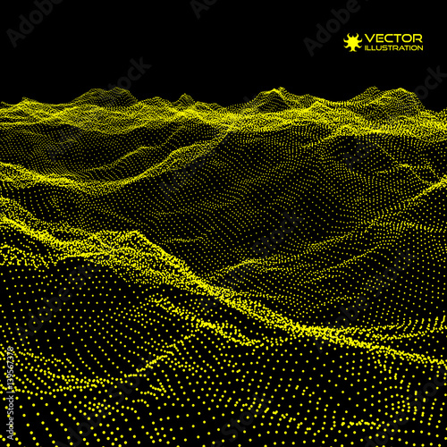 Landscape background terrain cyberspace grid for Grid landscape design