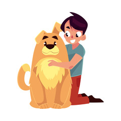 Little boy, child, kid with big fluffy brown dog friend, companion, cartoon vector illustration isolated on white background. Full length portrait of boy hugging a big brown dog, sitting on floor