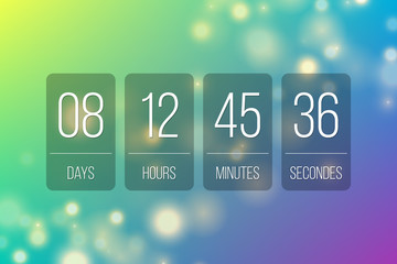 Countdown flip clock timer web site template vector design