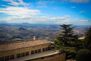 Panoramic view of San Marino from Titano Mount