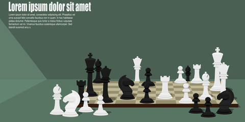 Many Chess pieces on chess board