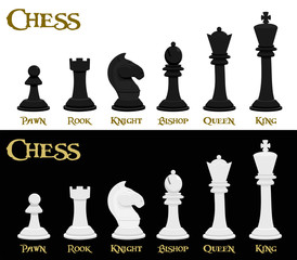 Set of chess piece with their name