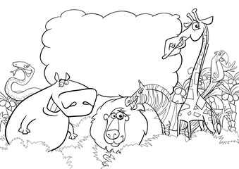 Fototapete - wild animals coloring page