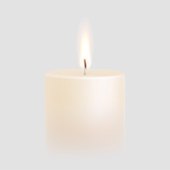 Candle flame burning 3D realistic vector white background