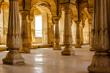 Pillared hall in a palace bathed in light, Jaipur, Rajasthan, India