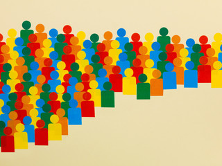 Illustration of a Crowd of Multicolored People