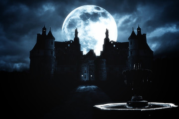 full moon and haunted house in creepy night forest.