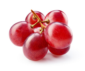 Fototapete - Ripe red grape isolated on white. With clipping path. Full depth of field.