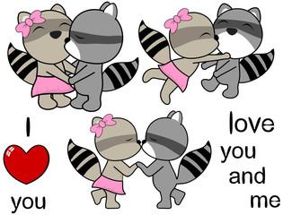 lovely cute raccoon cartoon love set in vector format