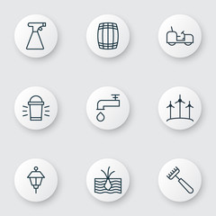 Set Of 9 Farm Icons. Includes Hang Lamp, Cask, Windmill And Other Symbols. Beautiful Design Elements.