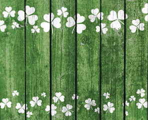 Green Planks with Shamrock Decoration