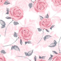 Pink roses. Watercolor floral seamless pattern 19