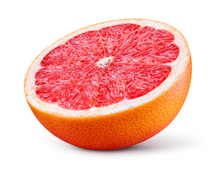 Grapefruit isolated on white background. Half of fresh fruit. With clipping path.