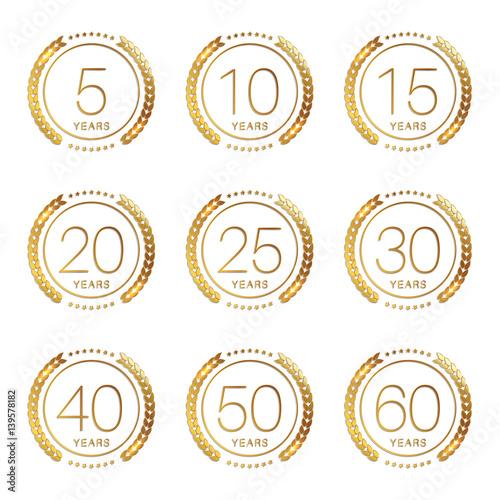 "30 Year Anniversary Symbol: ""Vector Set Of Anniversary Signs, Symbols. 5, 10, 15, 20"