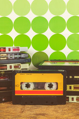 Retro styled image of vintage audio compact cassettes