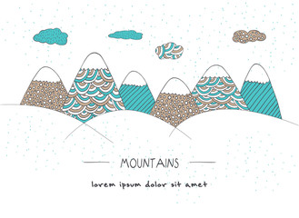Mountain landscape in doodle style. Hand drawn vector illustration. For greetings, cards, invitations, t-shirts, posters, banners and prints.