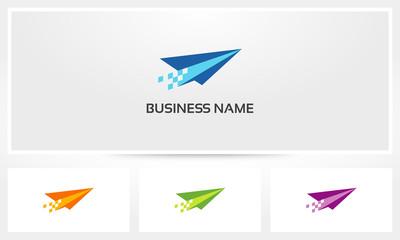Paper Airplane Pixel Logo