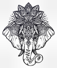 Decorative elephant with lotus mandala crown.